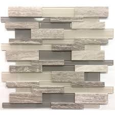 avenzo 12 in x 12 in 3d wooden light grey stone and glass linear