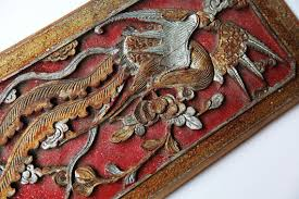 antique colorful wood carving wood wall hanging deco wood