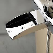 Tub Faucet Hand Shower Chrome Finish Single Handle Wall Mount Waterfall Bathtub Faucet
