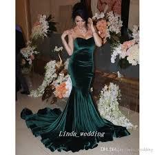 2017 arabic hunter green velvet long prom dress mermaid