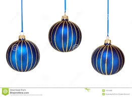 three blue and gold ornaments on white royalty free