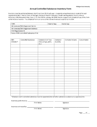 Controlled Substance Log Sheet Template Reporting Controlled Inventory To The State Of Michigan