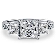 three stone engagement rings sterling silver princess cubic zirconia cz 3 stone engagement ring