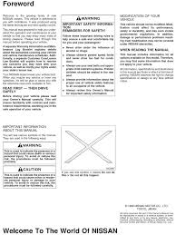 1999 nissan maxima owners manual seat belt airbag