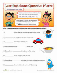 question words punctuation worksheets and second grade