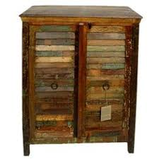 weathered wood nightstand with 1 drawer and multicolor striping