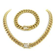 chain links bracelet images 12mm 30 quot cuban link chain 8 5 quot bracelet set 1ct jpg