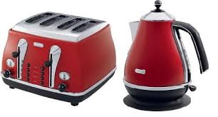 Delonghi Kettle And Toaster Sets Delonghi Icona Red Kettle Kbo3001 R U0026 Icona Red Toaster Cto4003