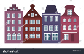European Style Houses Amsterdam Style Houses Laser Cut Silhouette Stock Vector 650891332
