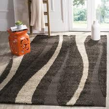 safavieh willow contemporary dark brown beige shag rug 5 u00273 x 7 u00276