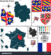 Burgundy France Map by Vector Map State Burgundy Coat Arms Stock Vector 209897851