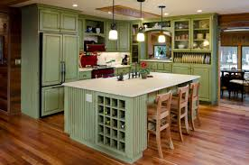 kitchen style pastel green cabinets with glass doors white
