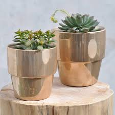 our ceramic plant pots come in a distinctive shape with metallic