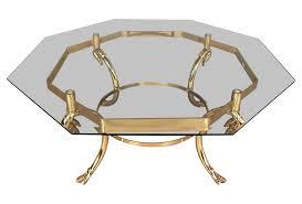 octagon brass coffee table chairish