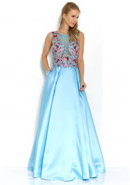 jora collection collection floral embroidered gown in blue