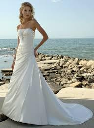 Coast Wedding Dress Straight Neckline Beaded Chapel Train Satin Coast Wedding Dresses