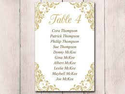 Table Card Template by Gold Wedding Seating Card Template Table Chart Wedding