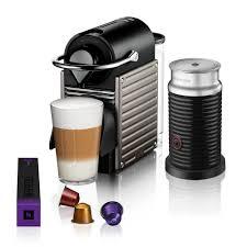 nespresso by breville pixie espresso maker bundle with aeroccino nespresso reg by breville pixie espresso maker bundle with aeroccino frother in titanium
