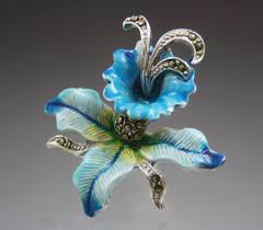 Blue Orchid Flower Vintage Blue Orchid Flower Marcasite Brooch With Enamel Paint And