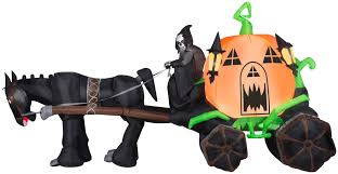 halloween inflateables 14 u0027 airblown pumpkin carriage halloween inflatable pumpkin