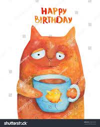 cat blue cup tea chicken happy stock illustration 310673723