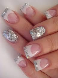 white u0026 glitter french tip manicure with a glitzy accent nail