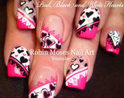5 nail art tutorials diy valentine nail art pink black u0026 white