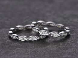 2pcs stacking art deco wedding band full eternity ring solid 14k
