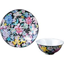 bowl designs chinese porcelain famille noir thousand flower design bowl and