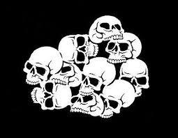 high detail airbrush stencil white skull pile free uk postage