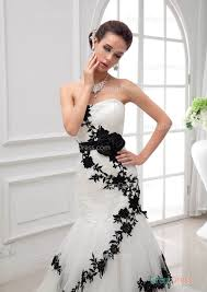 black lace wedding dresses classical strapless asymmetrical pleated black lace white tulle
