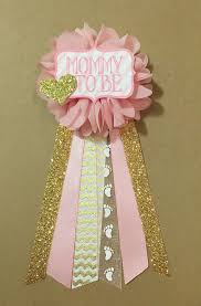 pink and gold baby shower pin mommy to be pin flower ribbon