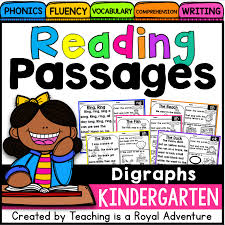 kindergarten reading passage digraph reading passages level 1 teaching is a royal adventure