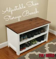 Diy Storage Bench Plans by Diy Adjustable Shoe Storage Bench Fixthisbuildthat