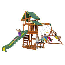 amazon com backyard discovery tucson all cedar wood playset swing