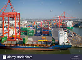 empty container ship at the docks dublin eire ireland stock