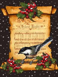 silent night christmas greeting card with bird mixed media by