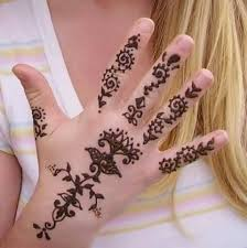 full hand simple henna tattoo design image for women
