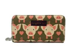 bungalow360 womens canvas large zip around wallet pig amazon co