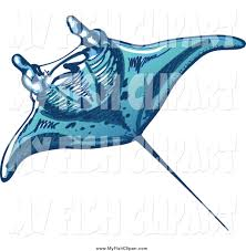 clip art of a swimming blue sting ray by zooco 1950
