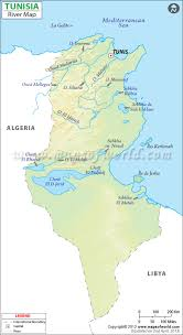 tunisia physical map river map