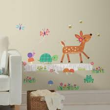 roommates 5 in x 19 in woodland baby animal log peel and stick woodland baby animal log peel and stick wall