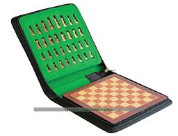 Magnetic travel chess set with zipped carry case