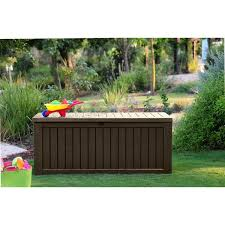 Keter Bench Storage Keter Rockwood Plastic Deck Storage 150 Gal Brown Patio Bench Box