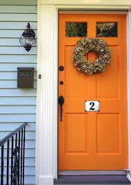 Front Door Colors For Gray House Orange Door With Pale Blue Or Pale Gray Siding Love It House