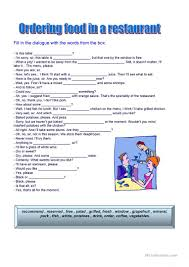 124 free esl going to a restaurant worksheets