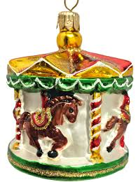 merry go round carousel polish blown glass christmas tree ornament