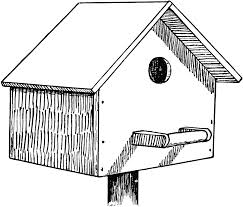 bird house clipart outline pencil and in color bird house
