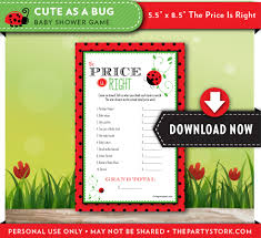 price is right baby shower game cute as a bug ladybug theme