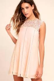 lulus dresses lulus hey doll blush pink lace shift dress lined 100 polyester